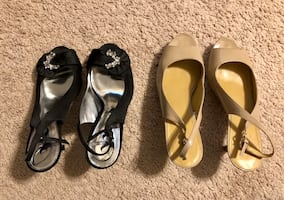5 pairs of Size 9 shoes (3 dressy heel sandals and 2 espadrilles)