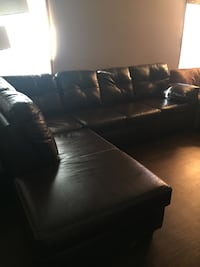 Like New Kittle's Espresso Leather Sectional Avon, 46123
