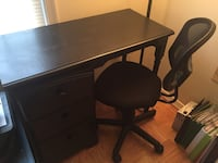 Black Desk with Wheel Chair
