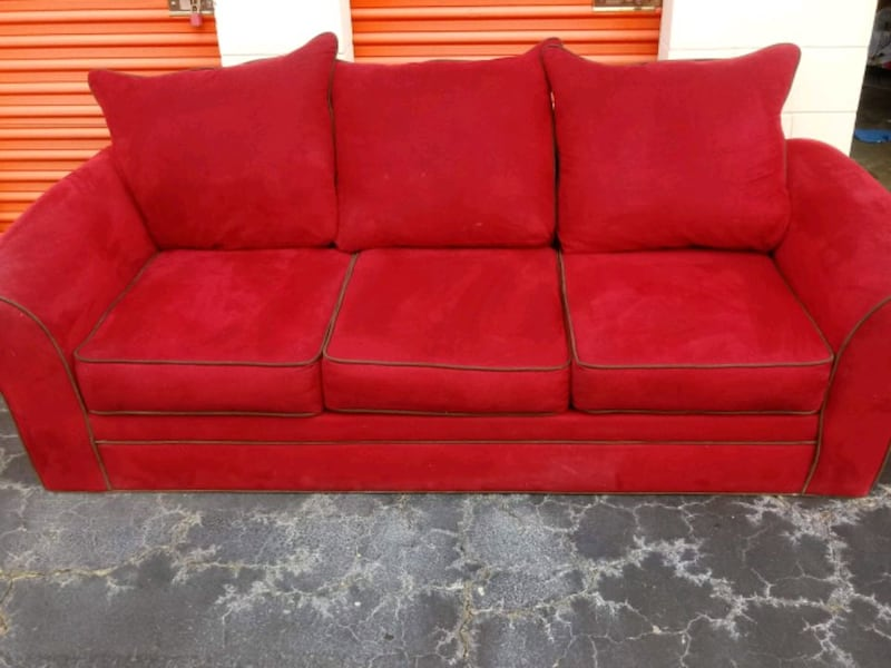 Red Suede American Signature Sofa Couch
