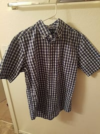 white, black, and red plaid button-down t-shirt