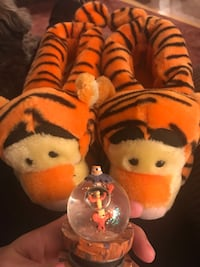 Tigger slippers and snow globe
