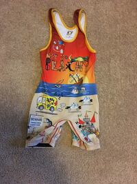 toddler's orange and beige printed tank rompers Brookhaven, 11786