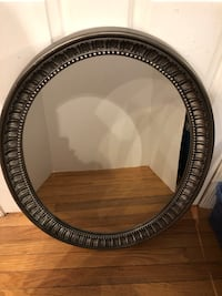 """Pewter Colored Oval Mirror 23""""x30""""   Can be hung horizontal or vertical  Manassas, 20112"""
