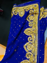 Blue stone and cutdana work georgette saree with padded blouse Surrey, V3T
