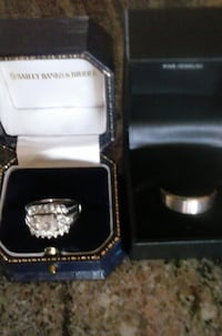 Stunning 3 Ring Set - Wedding and Engagement set with Men's Band