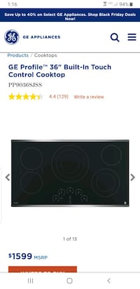 """GE Profile 36"""" Electric Cooktop Fairfax Station"""