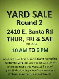 Yard sale: New women's clothes and much more Indianapolis, 46227