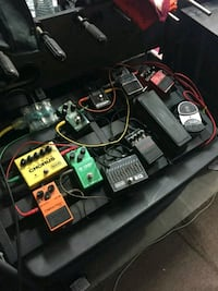 Guitar pedals, all in great condition, with board