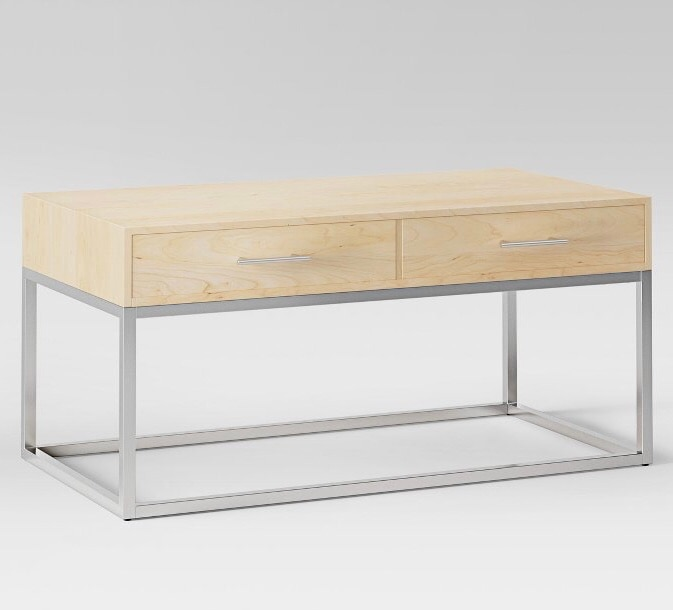 Wood And Chrome Coffee Table   New In Box