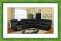 C shaped black bonded leather recliner sectional new with free shipping Hyattsville