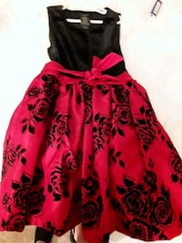 red and black floral spaghetti strap dress Lakewood, 80227