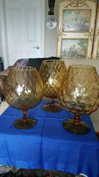 Vintage Gold Amber Glass Brandy Snifters 35$ each  Barrie, L4N 6C3