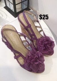 Purple Wedged Open Toe Sandals: Size 7 Toronto, M1S 2Y8