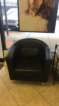black leather sofa chair with ottoman Vienna, 22182