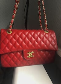quilted red Chanel leather tote bag Silver Spring