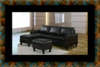 Black sectional with ottoman Adelphi
