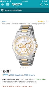 round gold-colored chronograph watch with link bracelet screenshot Linden, 07036