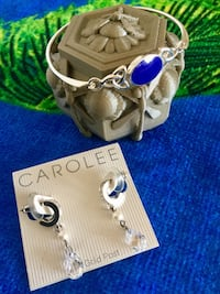 Beautiful Silver & crystals jewelry to chose from / Earrings $30 and Lapis gemstone  Bracelet $35  Alexandria, 22311