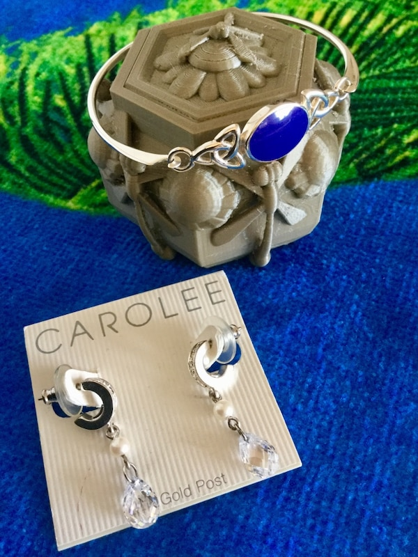 Beautiful Silver & crystals jewelry to chose from / Earrings $ 28 and Lapis gemstone  Bracelet $30
