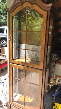 brown wooden glass cabinet Kelowna, V1W 2V1