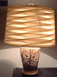 brown and gray ceramic table lamp with beige lampshade Fairfax, 22030