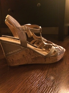 women's pair of silver wedges
