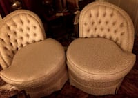 True Vintage - 40's Pair of Neutral Upholstered Anywhere Chairs