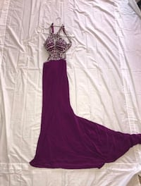 Open-Back Long Prom Dress with Jewels Columbia, 29223