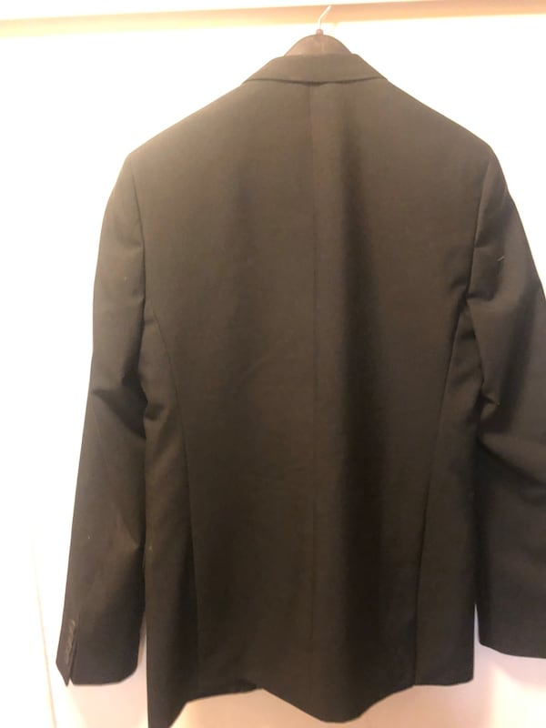 Black notch lapel suit jacket 1