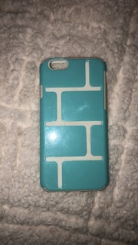 blue and white brick themed iPhone case