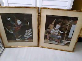 Thai silk paintings