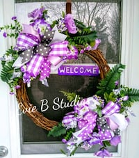 purple and green floral wreath Borden, L0M 1C0