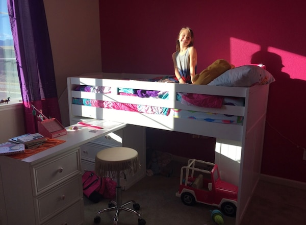 Girls white twin loft bed. Comes with attached desk, 3 drawer dresser, two  shelf bookshelf, and twin mattress. All in great condition! Smoke free ...