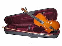 brown violin with bow in case San Francisco