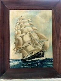Vintage Oil Painting of a Ship at Sea Lancaster, 29720