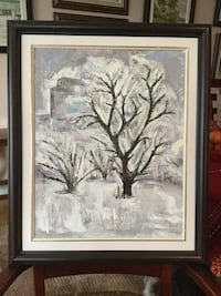 "Winter tree, oil in canvas, size 16""x20"", with frame"