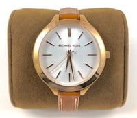 round gold Michael Kors analog watch with brown leather strap Toronto, M4J 2L9