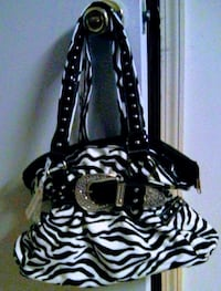 black and white zebra print shoulder bag