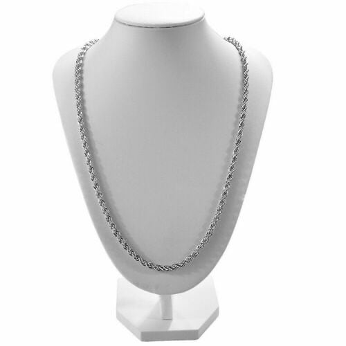 "SOLID UNISEX STERLING SILVER ROPE CHAIN 24"" 5"