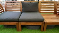 IKEA brown wooden benchframed olive cushions Falls Church, 22041