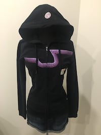 New black zip up with purple logo size small
