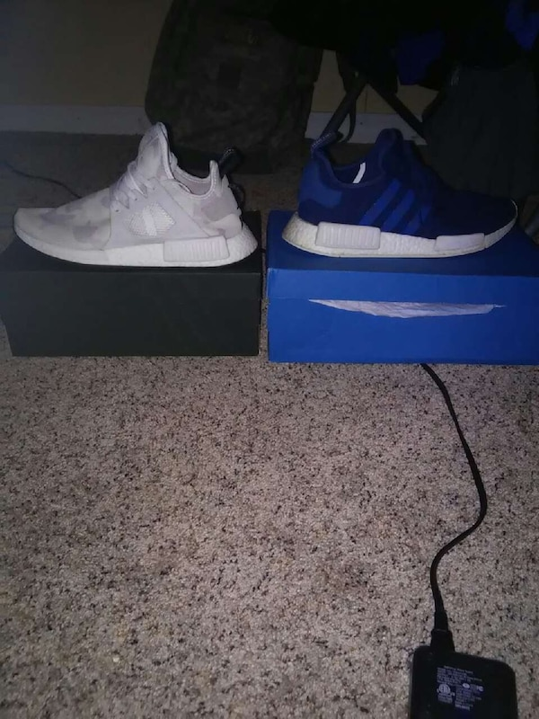 ff1c56d6d47531 Used two white and blue adidas nmd shoes with boxes for sale in South  Whitley - letgo