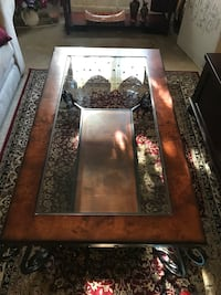 brown wooden framed glass top coffee table 19 km