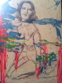 White, blue, and red abstract painting if Elizabeth Taylor Gatineau, J8T 2Z2