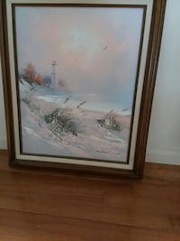 Painting of Lighthouse and water with frame Owings, 20736