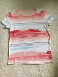 white, red, and brown striped crew-neck t-shirt Edmonton, T6G 2J5