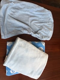 3 Piece- Blue changing table sheet & 2 blankets