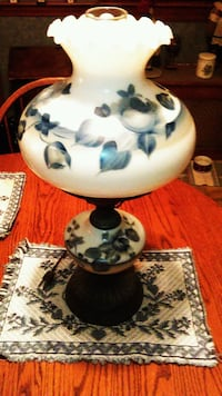 vintage, hand painted hurricane lamp.gone with the
