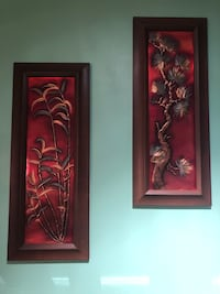 MOVING SALE - leaving November - Vintage wall decor - metal with wood frame. $20 for set Toronto, M5V 1M7
